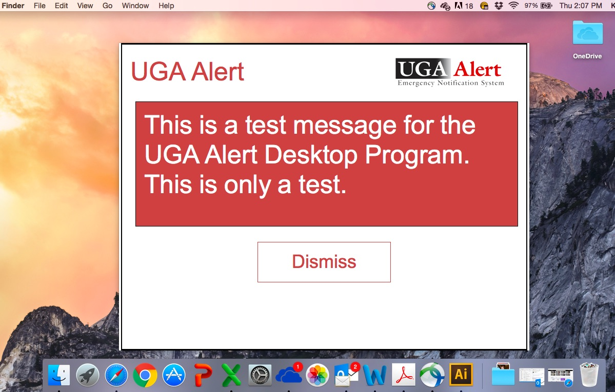 UGA Alert Test Message
